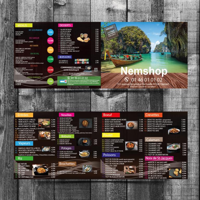 Conception de support de communication pour le restaurant Nemshop