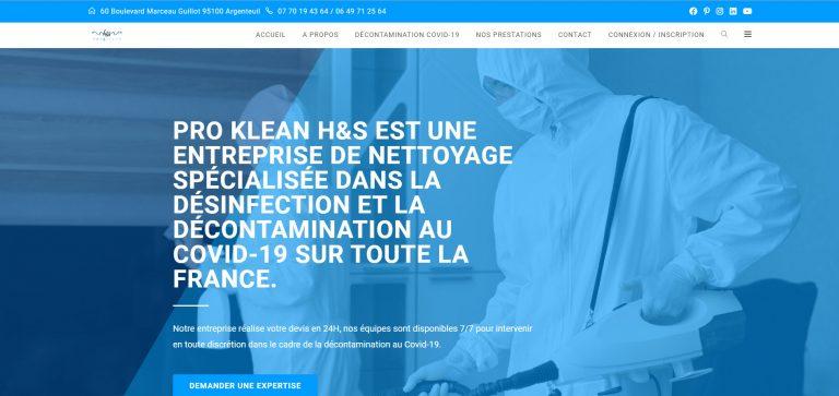 Création du site web de l'entreprise de nettoyage Proklean